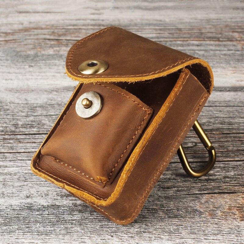 Men Retro Cigarette Case Lighter Bag Set Genuine Leather Belt Loop Waist Bag Key Hang Buckle Wear Resistant Send Friend Gift