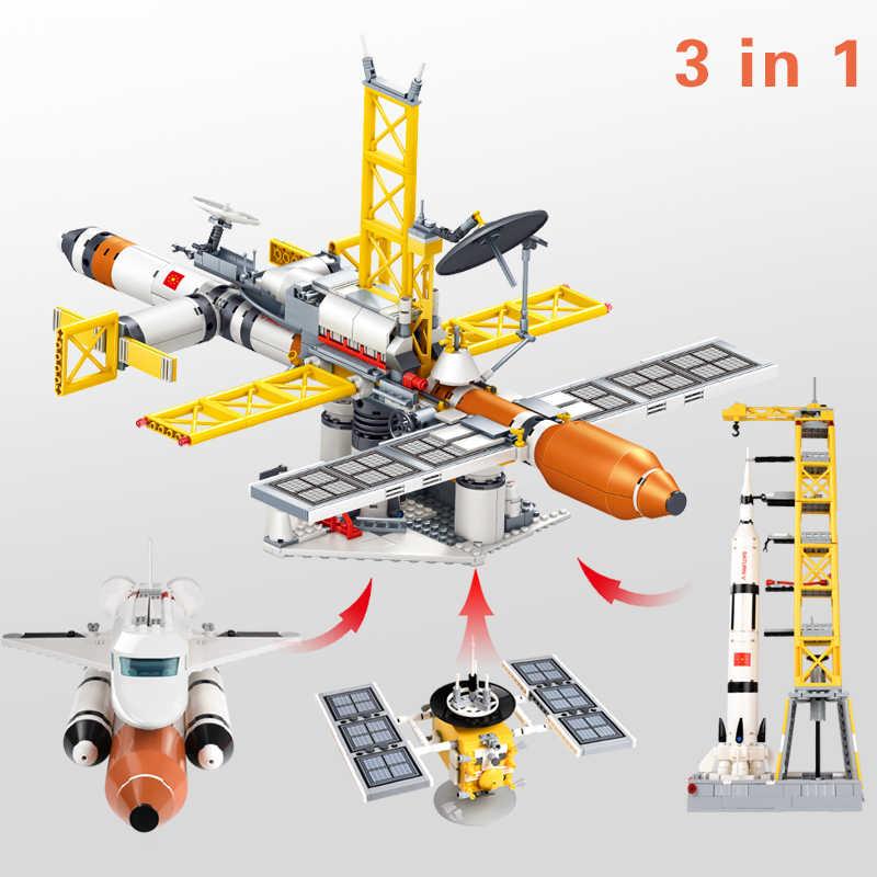 1043 + adet uzay istasyonu modeli blokları fırlatma aracı yapı taşı teknik havacılık keşfetmek DIY tuğla eğitici oyuncak çocuklar için