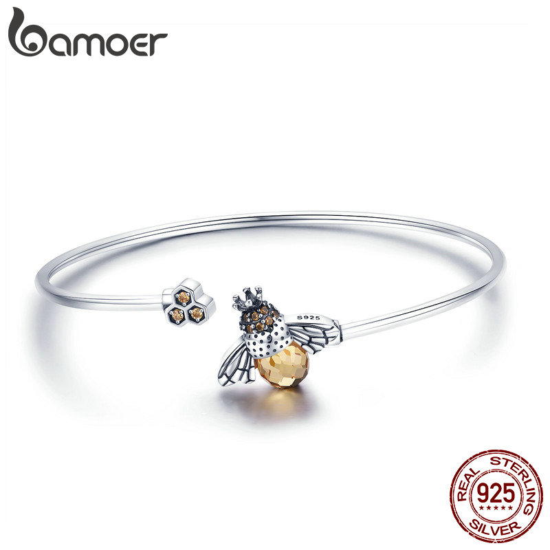 BAMOER 925 Sterling Silver Crystal Bee And Honeycomb Women Silver Bracelets Bangles for Women Sterling Silver Jewelry SCB104 925 sterling silver bracelets for women moon and star cz crystal bracelets