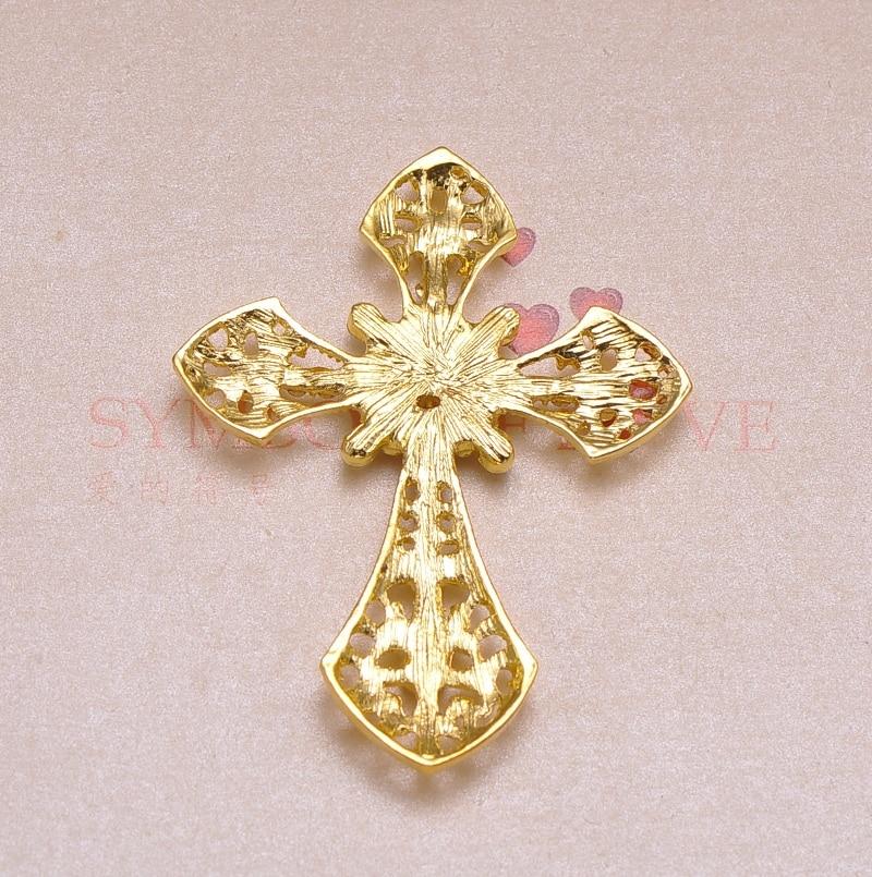 (J0623) 54mm x 7mm rhinestone metalowy przycisk, srebra lub złota poszycia, płaskie z powrotem, krzyż kształt w Guziki od Dom i ogród na  Grupa 2