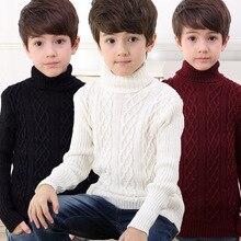 2016 Nouveau 6 Couleur D'hiver Garçons De Mode Épais Tricoté Creux Col Roulé Chandails Chemises Solide Garçons Chandail Enfants de Vêtements