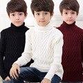 2016 Novo 6 Meninos Inverno Grosso Moda Malha Assentamento Blusas de Gola Alta Camisas de Cor Sólida Meninos Roupas Camisola das Crianças
