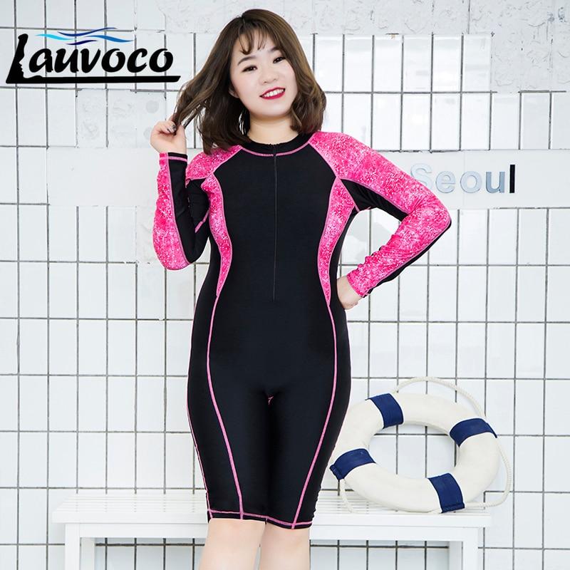 Patchwork One Piece Swimwear Women Large Size Long Sleeve Shorts Racing Professional Sport Swimsuit Sexy Bathing Suit Plus Size