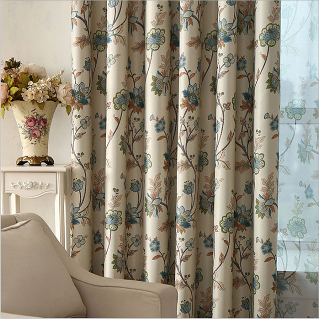 Bedroom Curtains Blackout Floral Print Window Decoration Rustic Pastoral Living Room Drapes Single Panel