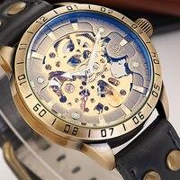 Masculino vintage esqueleto relógio de pulso mecânico retro couro analógico luminoso mãos shenhua bronze relógios de pulso automático masculino
