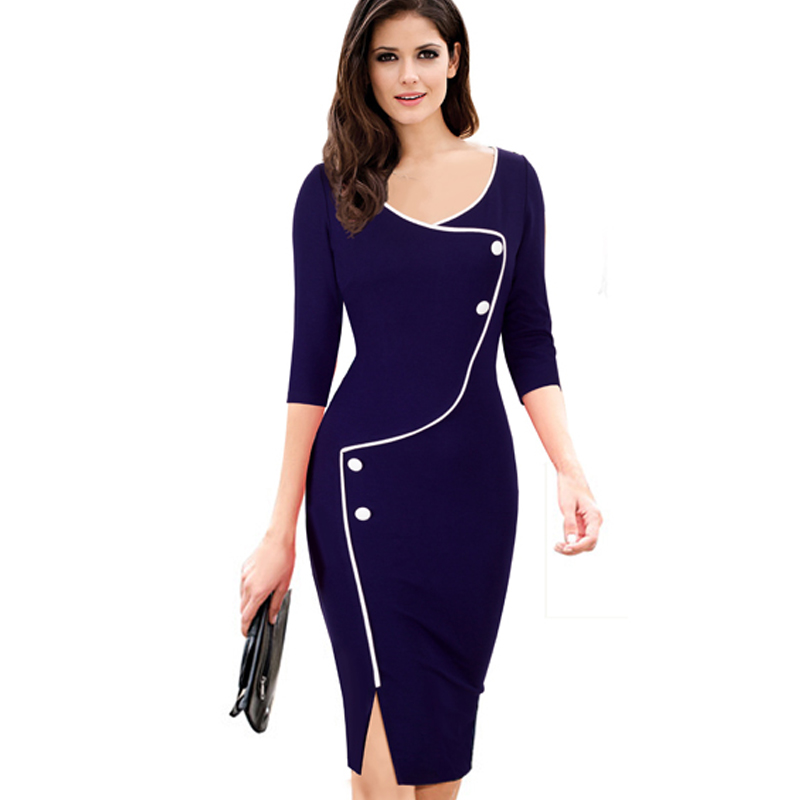 OUFANGMEIYI Store Autumn Womens Casual Pinup Elegant Wear To Work Business Vintage Button Bodycon Sheath Pencil Dresses EB329