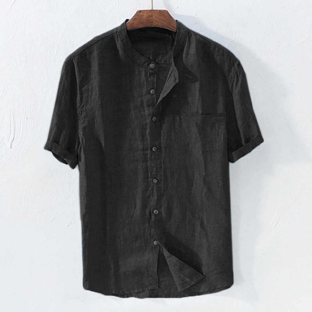 Casual Camicia Camisa manica Corta Camicia degli uomini degli uomini Larghi di Cotone di Lino di Colore Solido Sciolto Camicetta Magliette e camicette Streetwear Camisa masculina