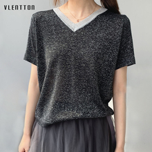 2019 Fashion V-Neck Female T-shirt Short sleeve Ice silk Knitted Tops Women spring summer Casual Loose Bright TShirt