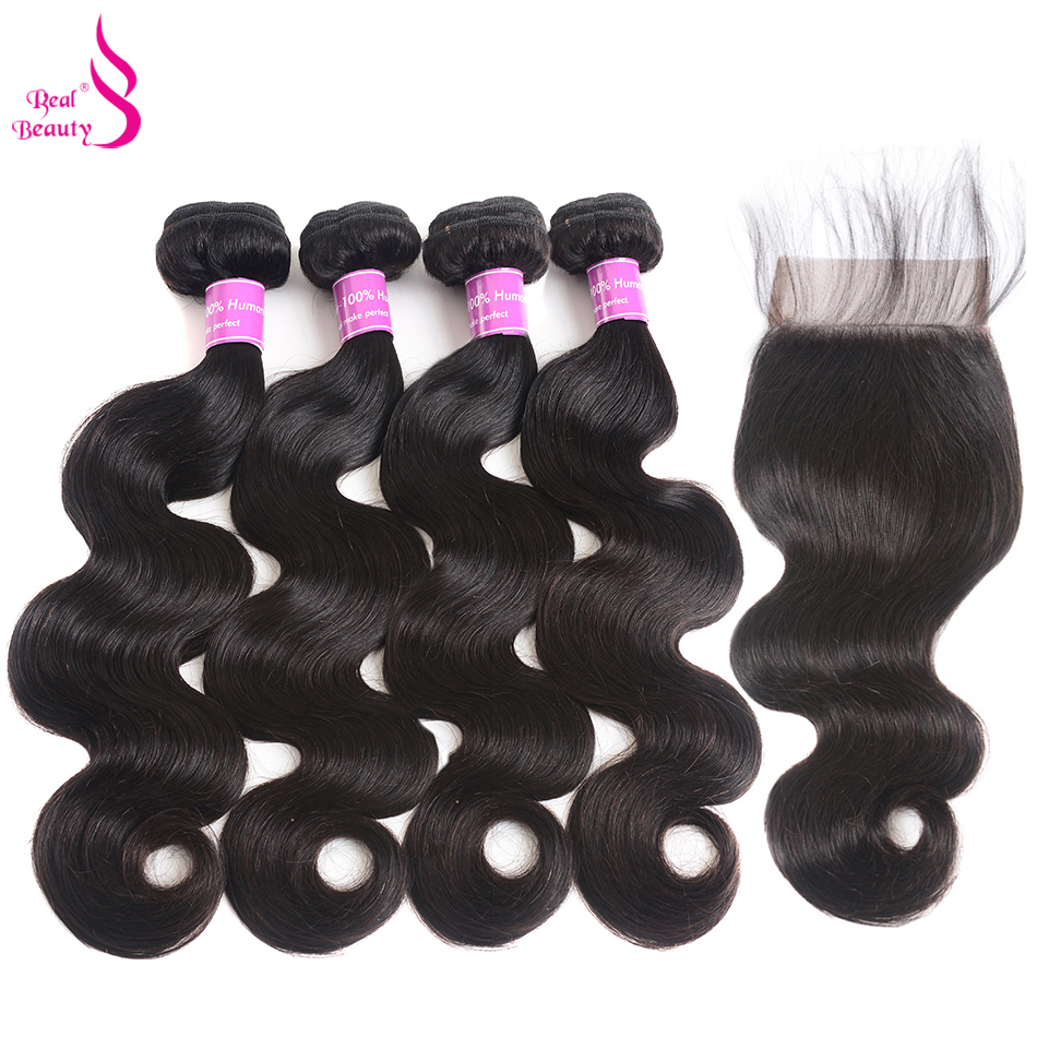 4 Bundles Brazilian Body Wave Hair With Closure Natural Color Non-Remy Real Beauty Human ...