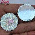 30 Pcs 30mm AB Claro Strass Resina Flores Redondas Flatback Contas de Resina Cristal Pedras Cabochão Botões Decoração ZZ528