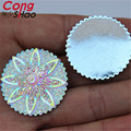 30Pcs 30mm AB Clear Resin Rhinestones Round Flowers Flatback Beads Resin Crystal Stones Cabochon Buttons Decoration ZZ528