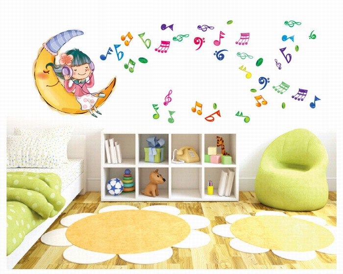 Listening to Music Moon Removable Vinyl Kids Children Bedroom Nursery  School Home Decor Decoration Decals Wall Stickers Mural-in Wall Stickers  from Home ...