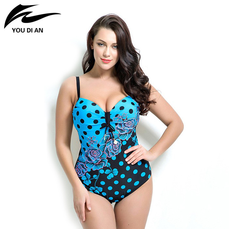 2017 New Sexy Women Plus Size Swimsuit One Piece Swimwear Women Padded Monokini Bathing Suits Large Size Swimsuits plus size womens swimsuit one piece backless swimwear floral print padded bathing suits large cup bust swimsuits for lady