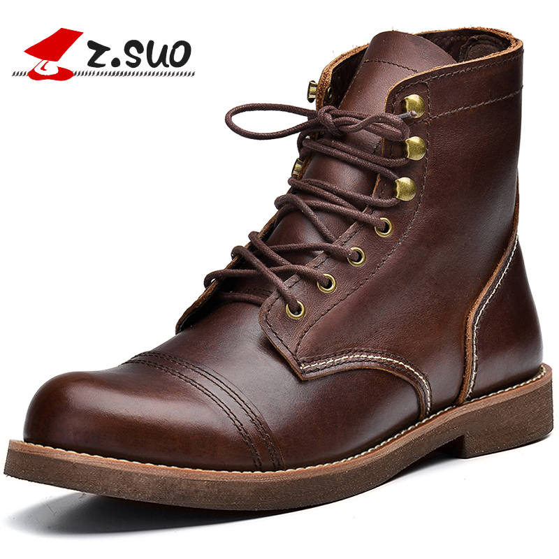Z.Suo Fashion Spring/Autumn men shoes Genuine Leather boots Lace-Up Breathable/Comfortable British Men's Casual Martin shoes micro micro 2017 men casual shoes comfortable spring fashion breathable white shoes swallow pattern microfiber shoe yj a081