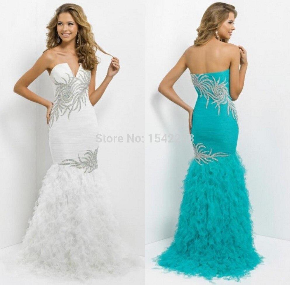 Vestidos de noche color azul turquesa - Azul Turquesa Blanco Sirena Vestido De Noche Moldeado Pesado Del Amor De Baile Vestidos Largos Formales