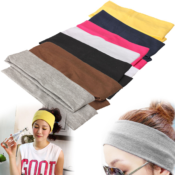 Women Sporty Yoga Dance Biker Elastic Wide Headband Stretch Ribbon Hairband  Headwear 2Pcs lot A150-in Women s Hair Accessories from Apparel Accessories  on ... dcdeb599516