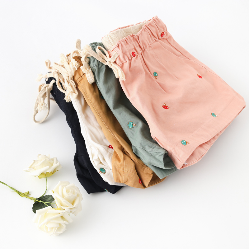 Cute mushroom embroidery shorts Elastic waist casual pants mori girl