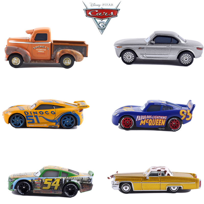 Cars Disney Pixar Cars 3 McQueen Jackson  Smokey Diecast Metal Car Model Birthday Boy Gift Toy For Kid Boys Brand New In Stock