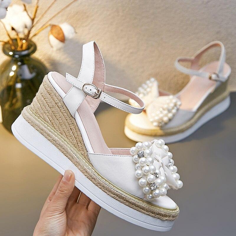 Haut Bow Wedge De D'été Loisirs Ouvert Bout Perles Véritable Femmes Chaussures forme Beige Plate Talon Sandales Designer Marque Tie Cuir Confort IcYqwWCa