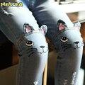 Menoea 2017 Primavera Gato Dos Desenhos Animados Meninas Calças Jeans No Joelho Calças Leggings Lápis das Crianças Luz Azul Pantalon Fillette 2-6A
