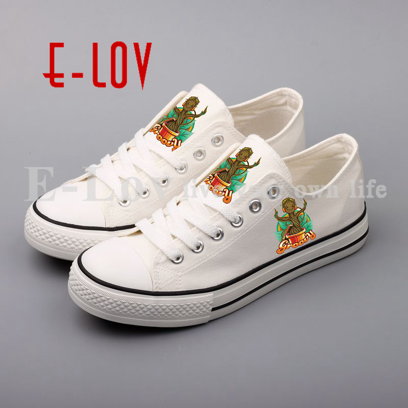 E-LOV Funny Printed Canvas Shoes Fashion Design Women Girls Lace-up Flat Casual walking Shoes