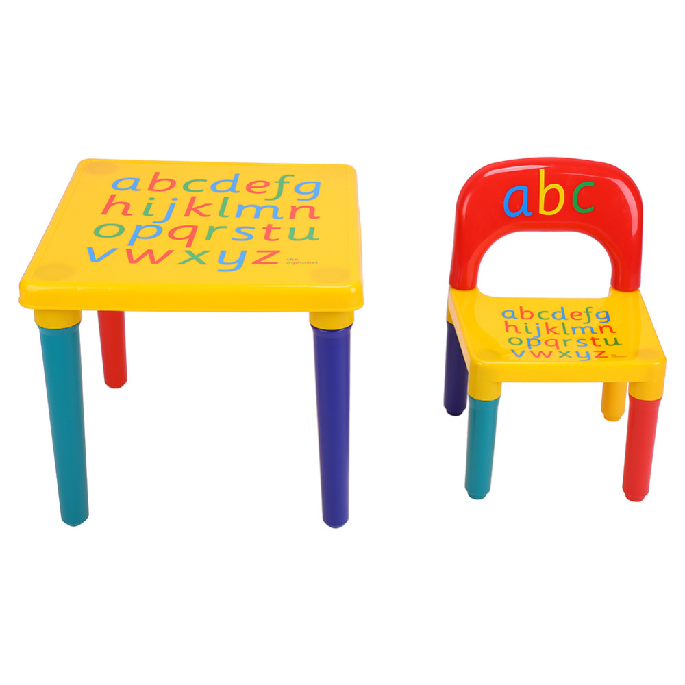 Kids chairs and table - Abc Alphabet Plastic Table And Chair Set For Kid Children Furniture Sets Dinner Picnic Desk