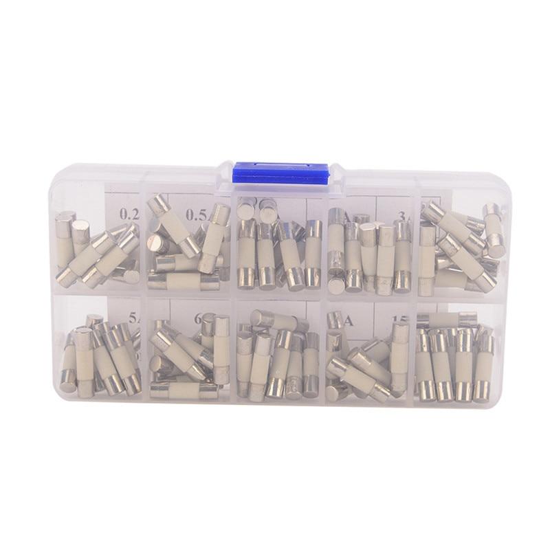 100 Pcs/set Assorted Ceramic Fuses White Ceramic Tube 5x20 MM Fast Blow 0.2A 0.5A 1A 2A 3A 5A 6A 8A 10A 15A Amp все цены