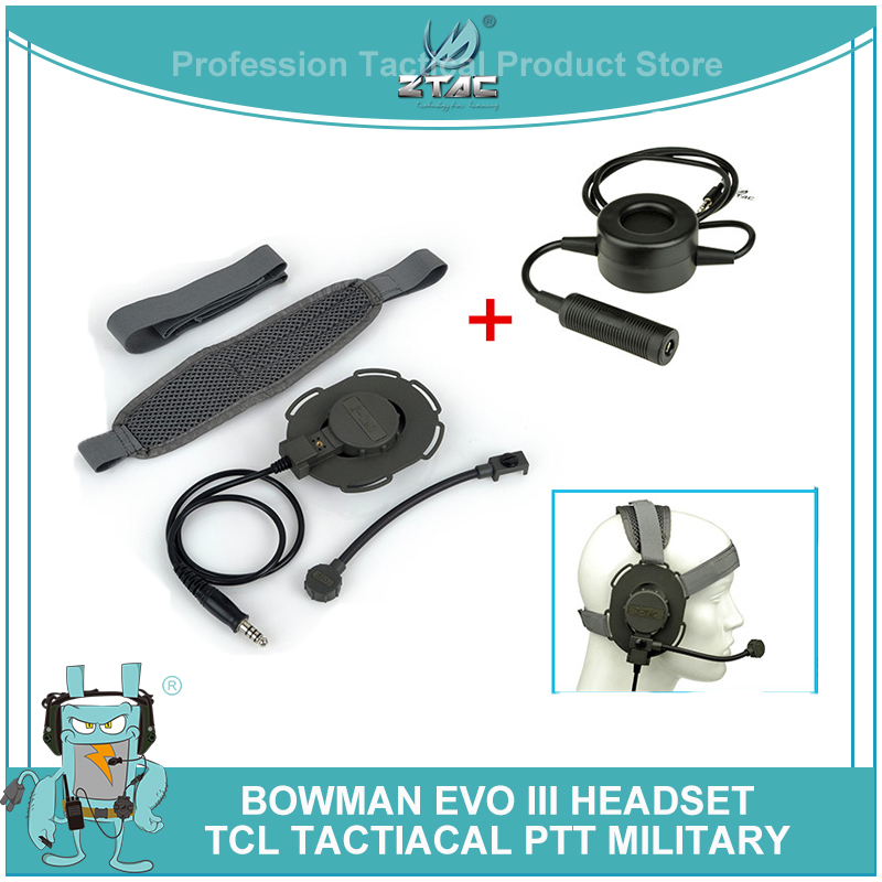 Z Tactical softair Bowman Evo III Headset Z tac Headphones with Ptt KENWOD Midland Military Standard