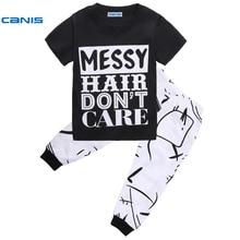 CANIS 2017 Kids child boy garments child woman garments Short Sleeve T-shirt+Pants Set 2-8Years