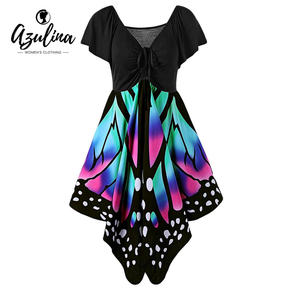 AZULINA Butterfly Shape Women Fashion Dress V Neck Novelty Female Party Dresses Vestido De Festa Robe
