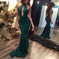 Сексуальная Выдалбливают Глубокий V Шеи Bodycon Партия Dress Спинки холтер Потока Длина Dress Sleeveless Night Out Off Shoulder Dress зеленый