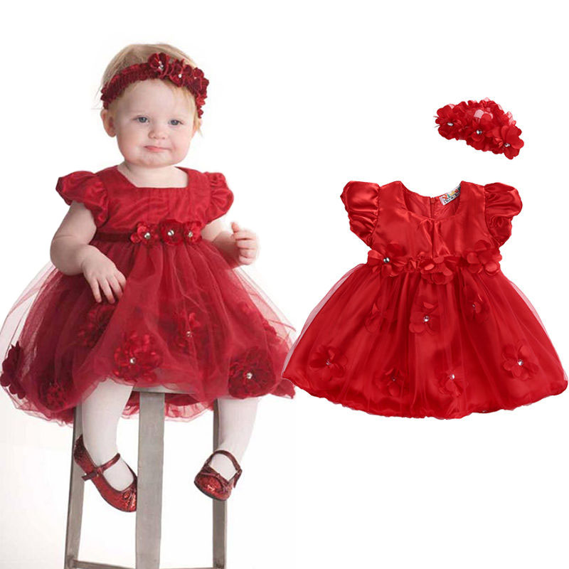 Baby Girls Red Floral Dresses Little Girl Mesh Tulle Short Sleeve Diadema Wedding Party Headwear Outfit Ropa Ropa de verano