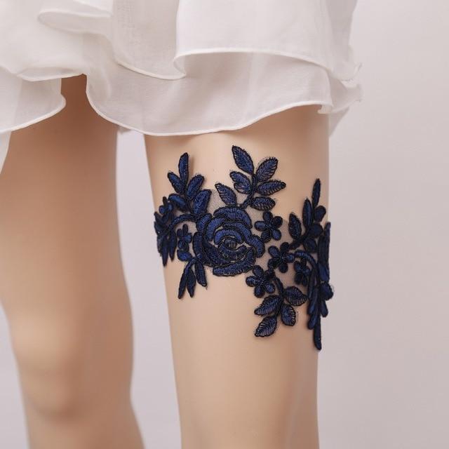 Fashion Y Wedding Garter Lace With Bow Ribbon Blue Bridal Belt Bride