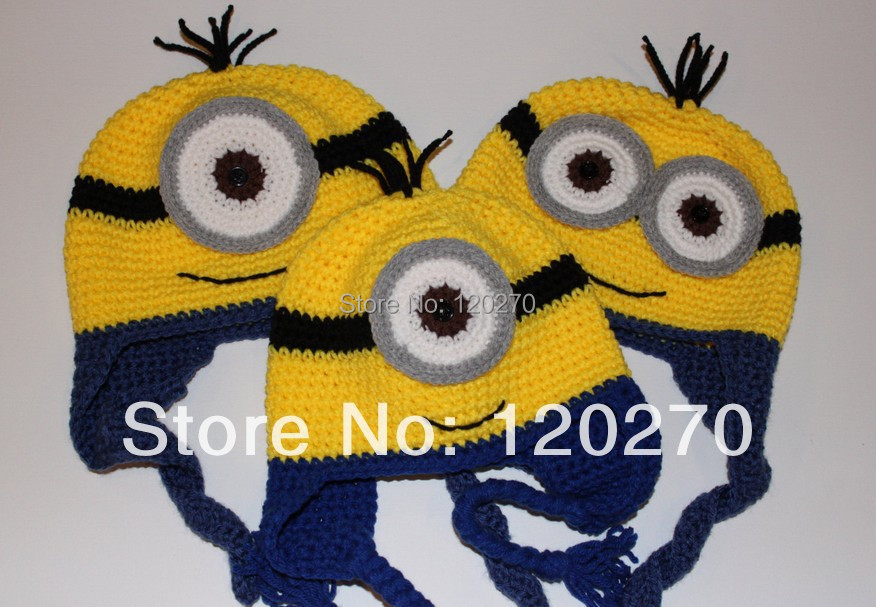 Free Shipping Despicable Me Minion Crochet Hat Pattern Knitted Baby ...