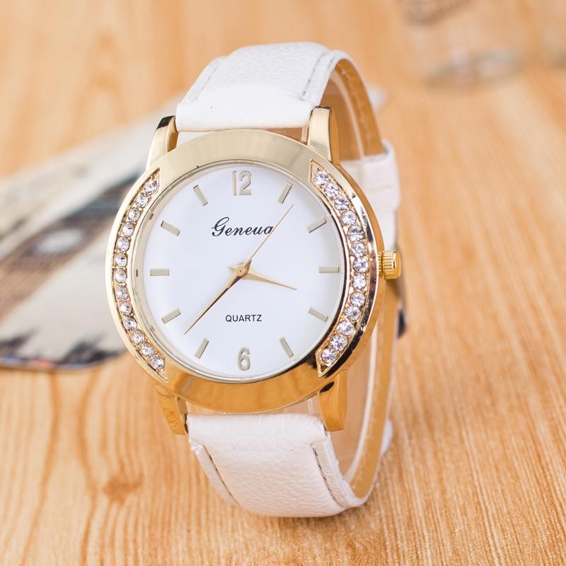 2018 Новый брэнд, женские часы, кварцевые часы, Женева Стразы с украшением в виде кристаллов в римском стиле женская обувь, экокожа (полиуретан...