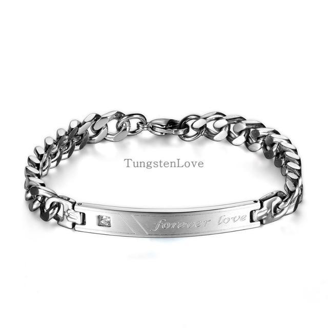 Moda amantes de aço inoxidável de cristal cadeia de charme para sempre amor ID pulseira para mulheres homens dos namorados presente de aniversário