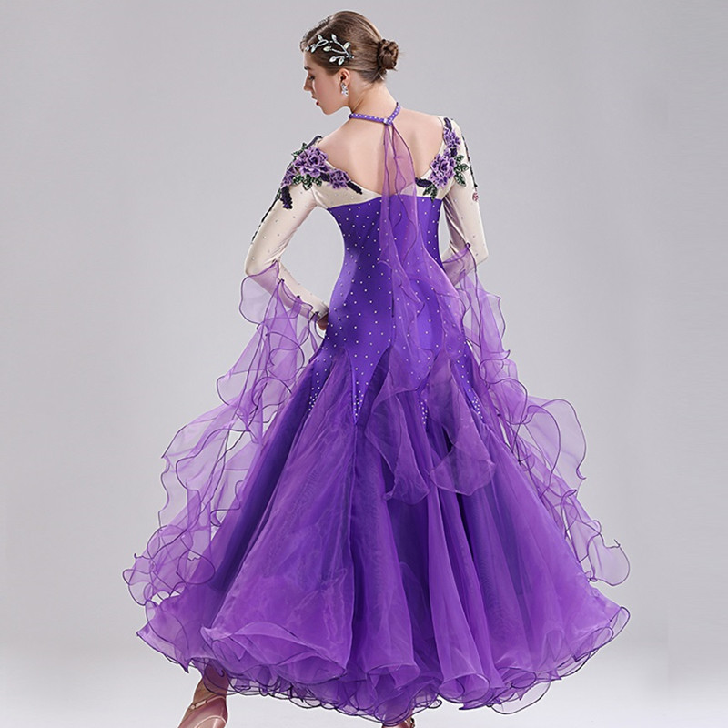 Ballroom Dance Competition Dresses Ballroom Dance Competition Dresses Viennese Waltz Dress Foxtrot Dance Dresses Standard Purple