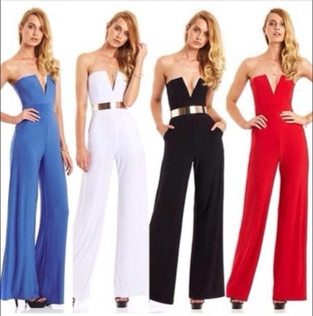 Strapless Jumpsuit 2015 New Arrival Women Long Cut Out Deep V Neck Jumpsuit  Casual Long Pants dc8fd8a64
