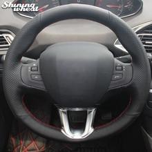 BANNIS черный кожаный чехол рулевого колеса автомобиля для peugeot 2008 peugeot 208