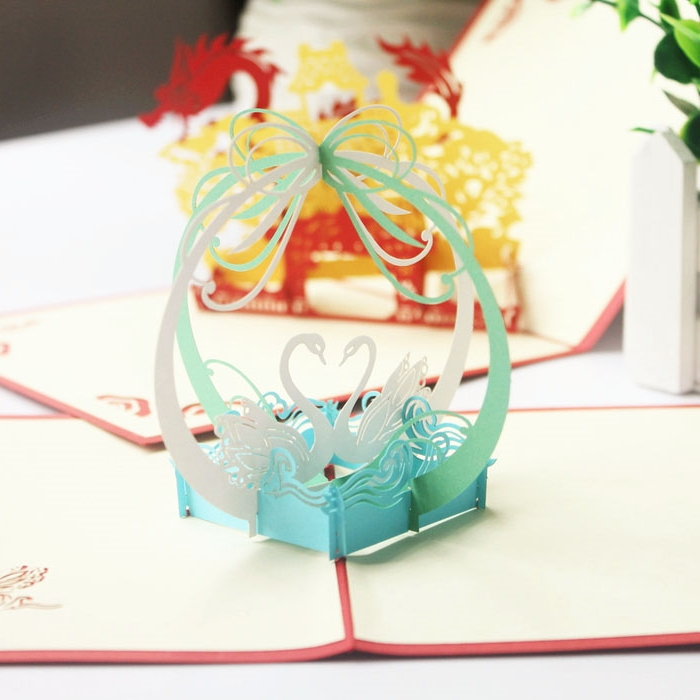 Swan 3D Stereoscopic Handmade Custom Holiday Greeting Card Employees Piece New Year Valentine Birthday Gift Ideas Couples Artic In Business Cards From