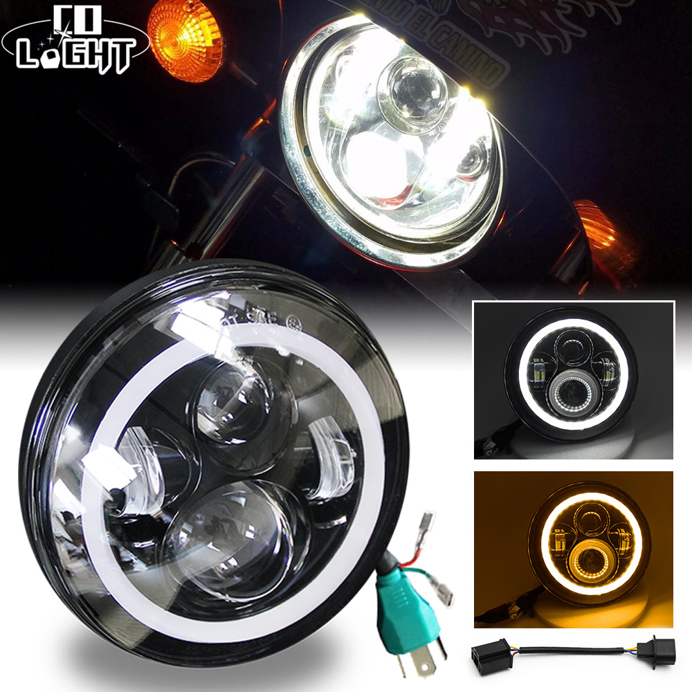 CO LIGHT 7Inch LED Headlight 50W 30W High Low Beam Angel Eye DRL Auto Turn Signal Lightfor Jeep Wrangler Hummer Lada Niva Harley headlight for kia k2 rio 2015 including angel eye demon eye drl turn light projector lens hid high low beam assembly