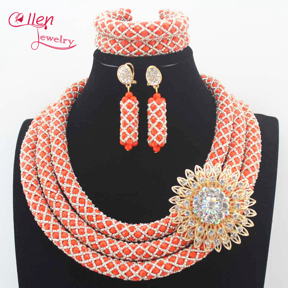 цена Luxury Nigerian wedding Bridal Jewelry Sets African Beads Jewelry Set Handmade dubai Bridal Necklace Set Bracelet Earrings N0021 онлайн в 2017 году