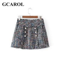 GCAROL New Arrival Women Pearls Mini Skirt Worsted Sweet Mini Skirt  Spring Autumn Winter Sexy Female Skirt XS-L