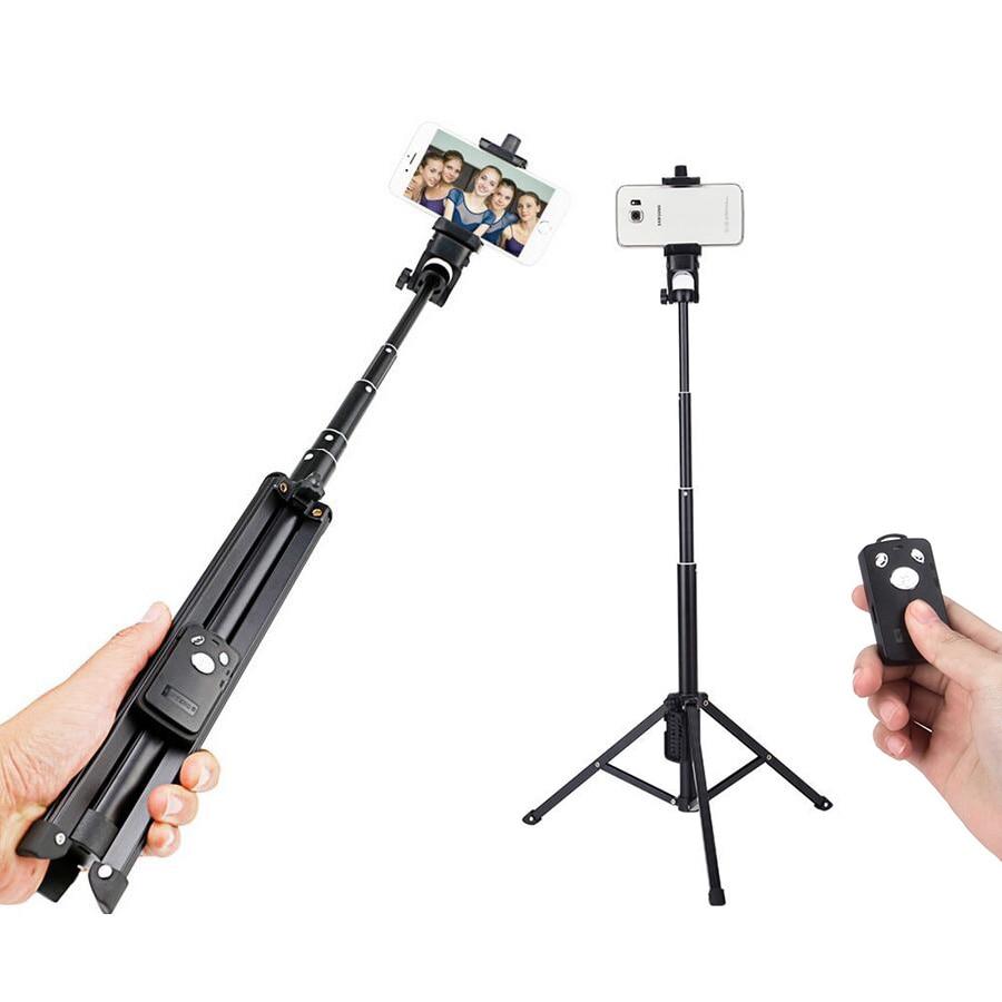 Nieuwe collectie aluminiumlegering 31,5-134cm draagbare bluetooth selfie stick met statief uitschuifbare monopod met Bluetooth-sluiter