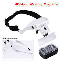 Adjustable Loupe 1.0X 1.5X 2.0X 2.5X 3.5X 5 Lens Magnifier With Led Lights Lamp Headband Led Magnifying Glass For Reading