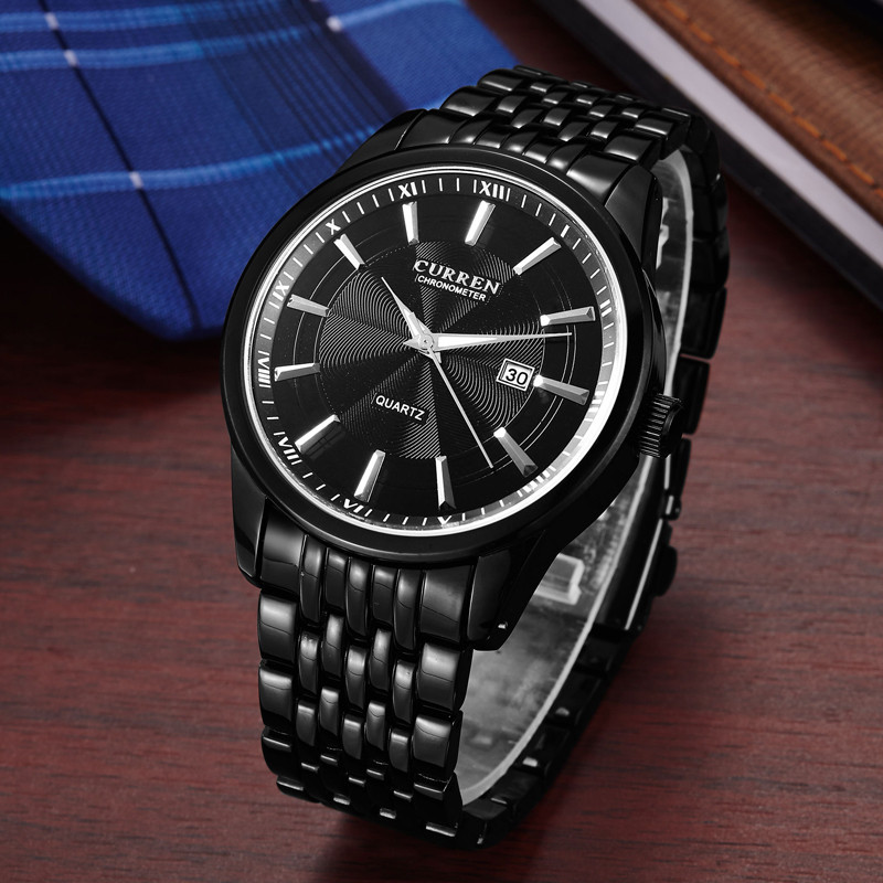 <font><b>Curren</b></font> <font><b>8052</b></font> Mens Watches Top Brand Luxury Black Stainless Steel Analog Quartz Watch 2018 Fashion Men Sport Wristwatches Relogios image