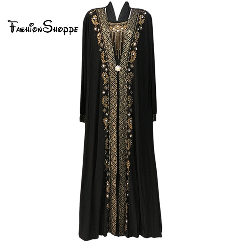 free shipping Muslim black abaya islamic clothing for women embroidery rhinestone dubai kaftan robe dress turkish abaya  D253 Рубашка