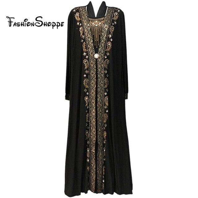 56cc7d322f4c2 شحن مجاني بنت الملابس الإسلامية العباءة السوداء للنساء التطريز الراين دبي  قفطان رداء ثوب التركية عباية