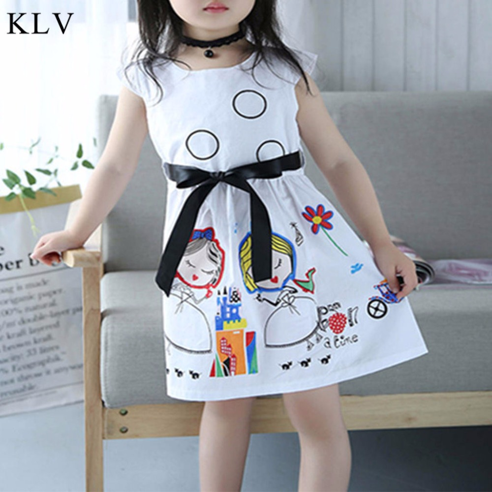 KLV Girls Cartoon Princess Dress 2T-7T Toddler Baby Scrawl Summer Stylish Cotton Kid Clo ...