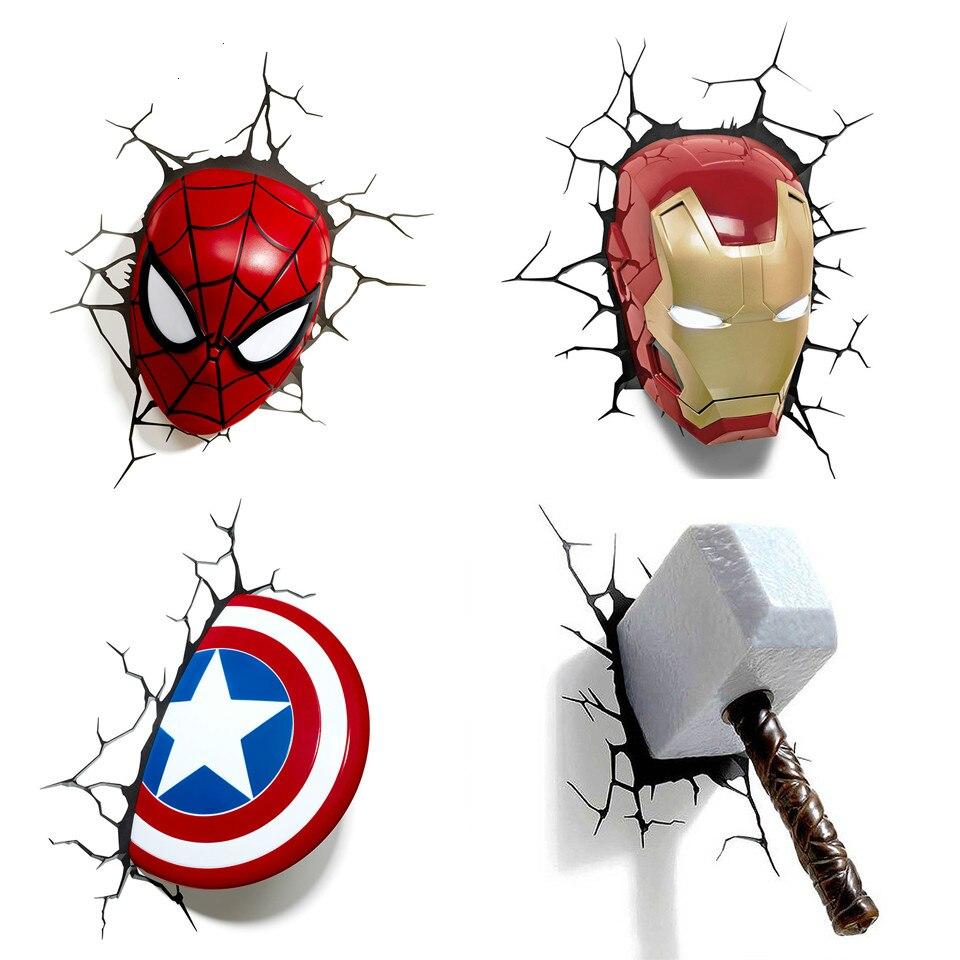 Marvel Avengers 3D Wall Lights Spiderman Iron Man Hulk America Captain Wall Stickers for Kids Rooms Bedroom LED Night Light